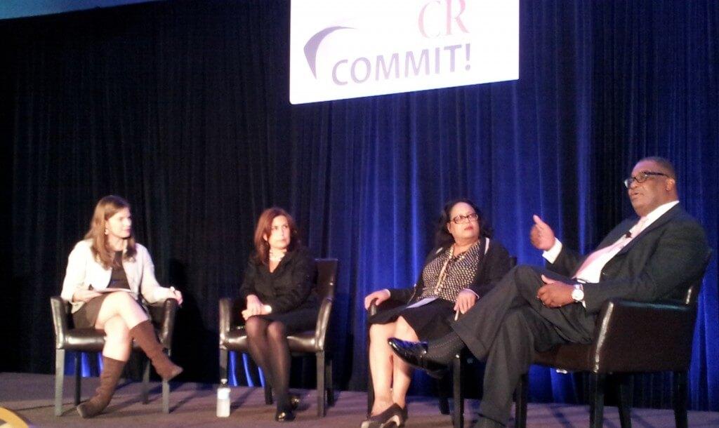 Panelists Hannan, James and Hinton with moderator, Amber Johnson (left).