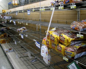 Grocery store shelves with bread