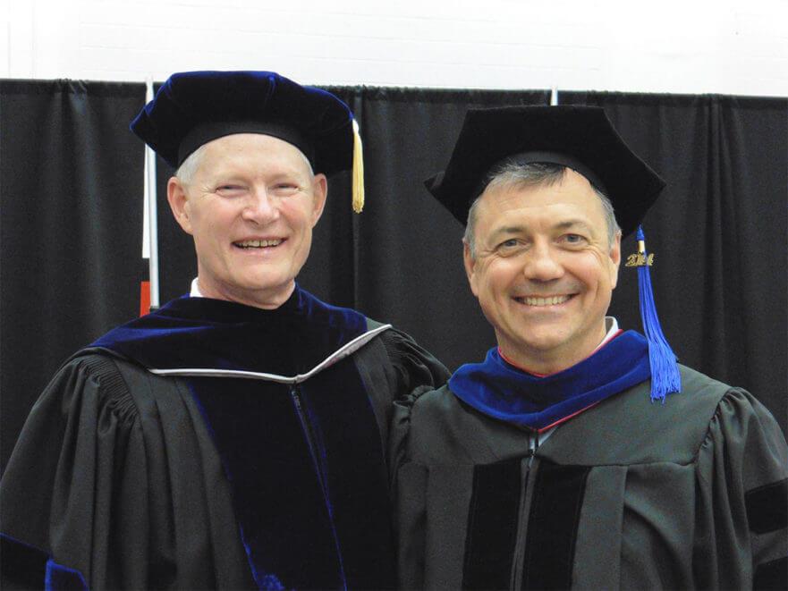 Lee Murphy graduation speaker with graduate student